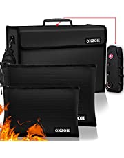 Fireproof Bag with Lock (TSA Approved) | Fireproof Document Bags XXXL Size (17 x 12 x 6 inch) & A4 Size | Waterproof Fireproof Document Box | Firebox for Document Storage | Firebag Safe