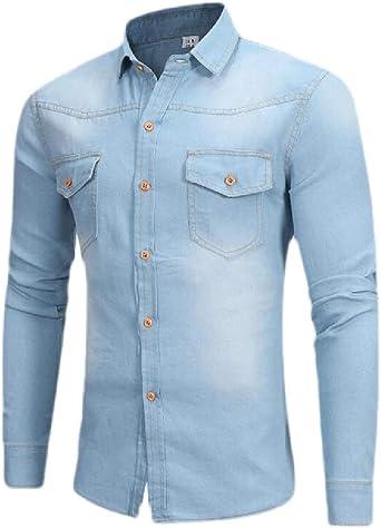 SOWTKSL - Camisa de Mezclilla Informal para Hombre (Manga Larga, con Botones) Azul Azul Claro XS: Amazon.es: Ropa y accesorios