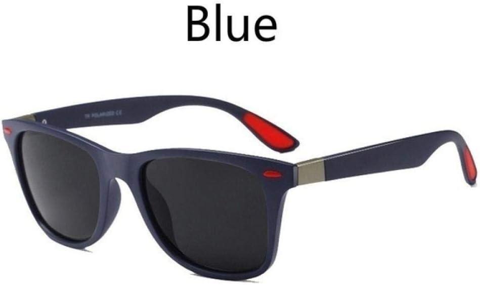 UV400 en Plastique Polarisées Lunettes De Soleil Carrées Conduite De Mode Noir Lunettes De Sport Lunettes De Pêche Hommes Conduite en Plein Air blue