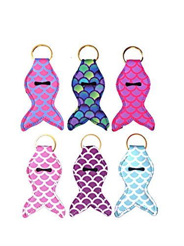 MERMAID NEOPRENE KEYCHAIN CHAPSTICK HOLDER with gold key ring, four bright colors, novelty keychain (multicolored) - PACK OF SIX (6)