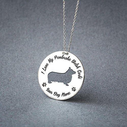 (Personalised Pembroke Welsh Corgi Necklace - Pembroke Welsh Corgi Disc name Jewelry - Dog Jewelry - Dog breed Necklace - Dog Necklaces)