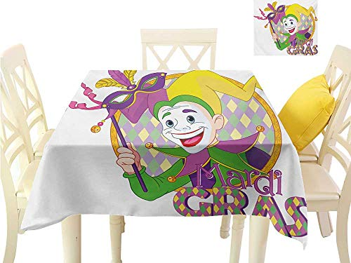 Angoueleven Easter tablecloths Mardi Gras,Cartoon Design of Mardi Gras Jester Smiling and Holding a Mask Harlequin Figure,Multicolor Square Polyester Tablecloth W 60