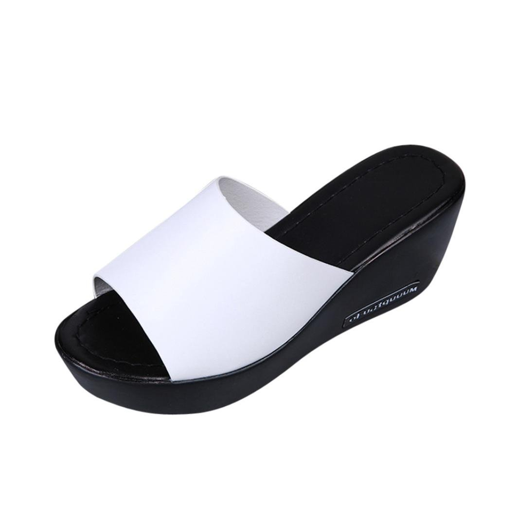 Xinan Femme Eté Sandales Sandales Chaussures de Été Sandales à Talons À la Mode Casual Sandales à la Bouche Pantoufles à Semelles épaisses Blanc Noir Simple Antidérapante Pente Compensé Sandales (EU:39, Noir) china