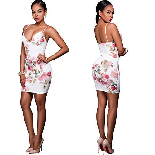 Spaghetti Straps Bodycon Dresses Stretch Floral Print Sexy Dress for Summmer Party Beach Club (Large, White - Mall Show Fashion Vegas