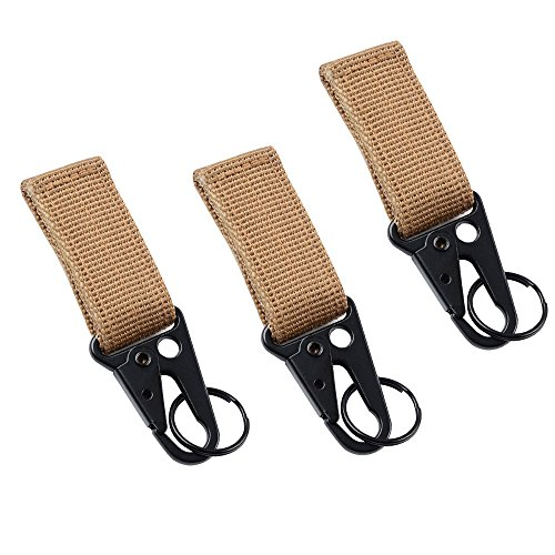 Tactical Gear Clip Web Nylon Belt Band Keeper Pouch Carabiner Standard Key Ring Holder Chain Quick Release Compatible for Outdoor Activities Hook with Molle Bags (Nylon Carabiner)