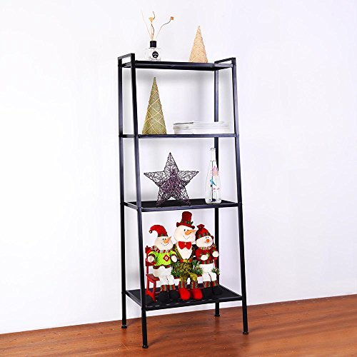 Yescom 4 Tier Ladder Storage Rack Bookshelf Bookcase Metal Frame Shelf Vertical Floor Standing Black