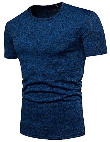 Mens Waffle Knit Tees - PAUL JONES Men's Summer Crew Neck Short-Sleeve T-Shirt Blue XL