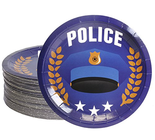 Disposable Plates - 80-Count Paper Plates, Police Party Supplies for Appetizer, Lunch, Dinner, and Dessert, Kids Birthdays, 9 inches in Diameter]()