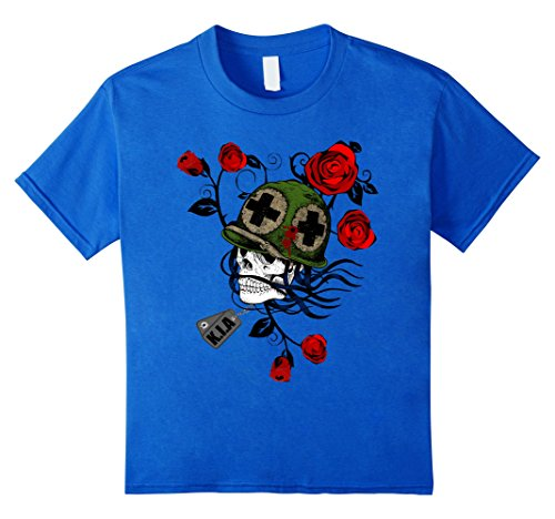 Kids KIA Military Soldier Skull T-Shirt 12 Royal (Boys Skull Soldier Costumes)