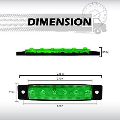 Meerkatt (Pack of 10) 3.8 Inch Green 6 LED Side Clearance Marker Light Indicators Lamp License Decoration Fender Rear Tail Trailer Truck Cap Camper Buses Pickup Vans ATV Lorries Jeep 12v DC Model TK12: Automotive