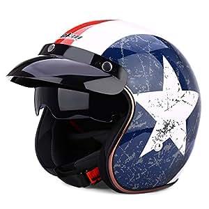 autolover Open Face casco de moto, Dot Aprobado casco de la motocicleta Frío Protección Seguro