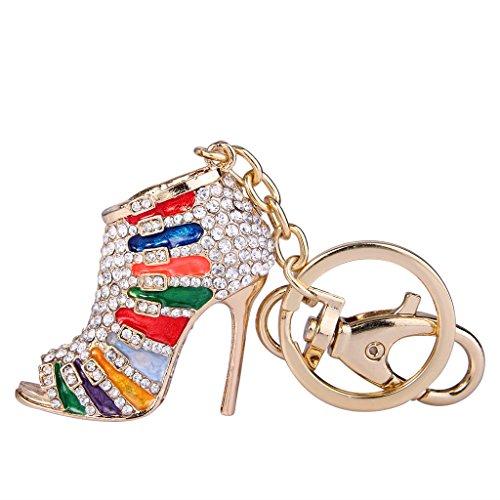 EVER FAITH Austrian Crystal Multicolor Enamel Sexy High Heel Shoe Keychain Clear ()