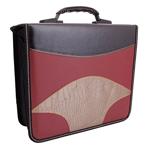 Thegood88 240 Disc Sheets Fan Shaped CD VCD DVD Storage Bag Case Claret & Black & Golden EB008 Holder Disc Organizer Bag Wallet Pu Vcd Media Faux Album Binder (Inside Furniture Mile End)