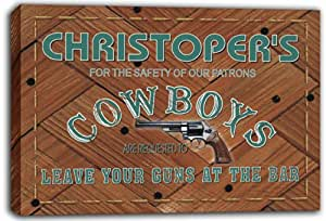 scqg1-0865 CHRISTOPER'S Cowboys Leave Your Guns At The Bar Beer Stretched Canvas Print Sign