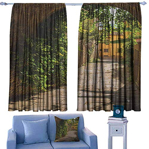 Mannwarehouse Medieval Breathable Curtain Streets of Tuscany Old Mediterranean Middle Age Town European High Culture Italy Darkening and Thermal Insulating 55