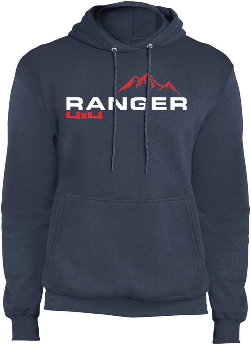 WheelSpinAddict Mens Ranger Truck Ecoboost 4x4 Premium Pullover Hoodie Navy