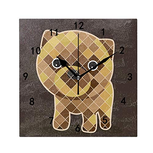 OMWEED Pomeranian Wall Clocks Decorative Silent 7.87 in for Living Room Home Decor Wall Art ()