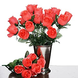 Tableclothsfactory 84 Artificial Buds Roses Wedding Flowers Bouquets Sale - Coral 20