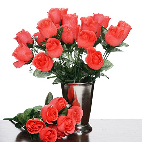 BalsaCircle 84 Coral Silk Rose Buds - 12 bushes - Artificial Flowers Wedding Party Centerpieces Arrangements Bouquets