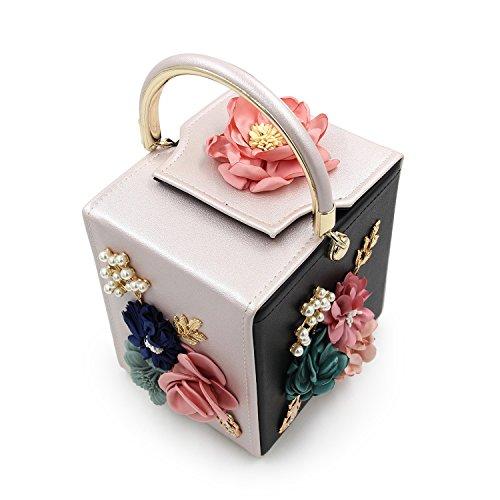 Purses Square Women Strap Flower Leather Black Beige Wedding Wallet Bags Detachable Pearl With Bags Evening Handbag Clutch TuTu qfA0gwXw