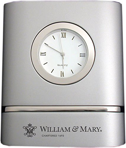 College of William & Mary- Two-Toned Desk Clock -Silver