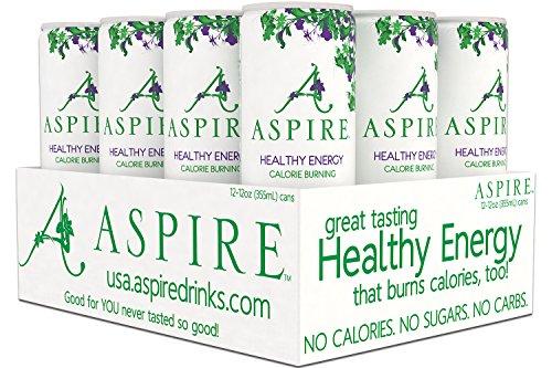 Aspire Healthy Energy  Calorie Burning  Zero Calorie  Zero Sugar Drink Apple   Acai 12 Count Case