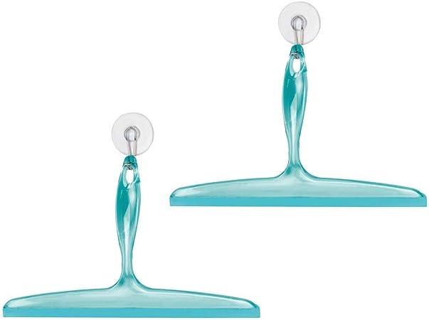 mDesign Juego de 2 rasquetas limpiacristales para mamparas de ducha – De plástico y con ventosa – Eficaces utensilios para limpiar cristales, azulejos, ventanas o mamparas de baño – azul: Amazon.es: Hogar