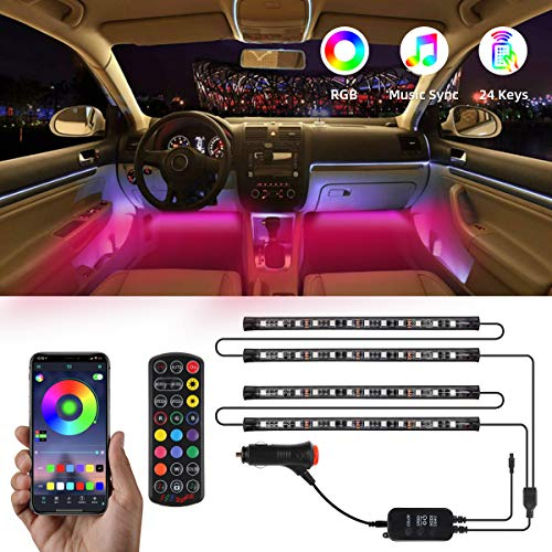 Interior Car Lights,TATUFY Car LED Strip Lights, 4pcs 48 LED DC 12V Interior Car Lights Bluetooth App Control Lighting Kits Multi Color Music with Car Charger Sound Active Function for Smart Phone