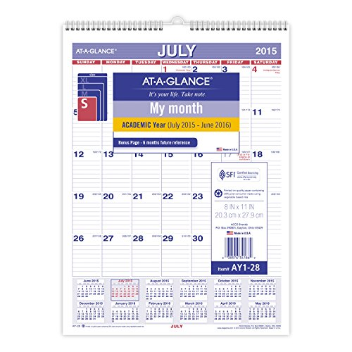 AT A GLANCE Monthly Wall Calendar Academic Year 12 Months July