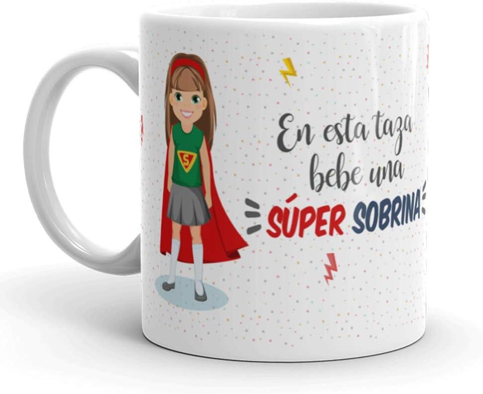 Kembilove Taza de Café para Sobrina – Aquí Bebe una Super Sobrina – Taza de Desayuno para Familia – Regalo Original para Cumpleaños, Navidad, Aniversarios – Taza de Cerámica Impresa de 350 ml