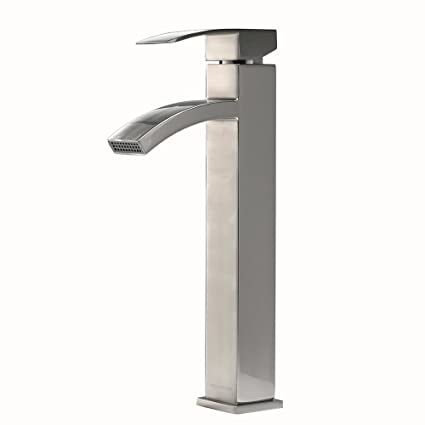 VCCUCINE Contemporary Modern Brushed Nickel Tall Single Handle Bathroom Vessel  Sink Faucet, Laundry Stainless Steel