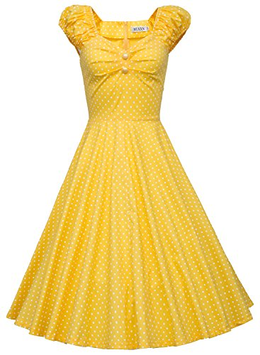 Yellow 1950s Women's Style MUXXN Dress Party Wd Swing Vintage 16Bvqw0
