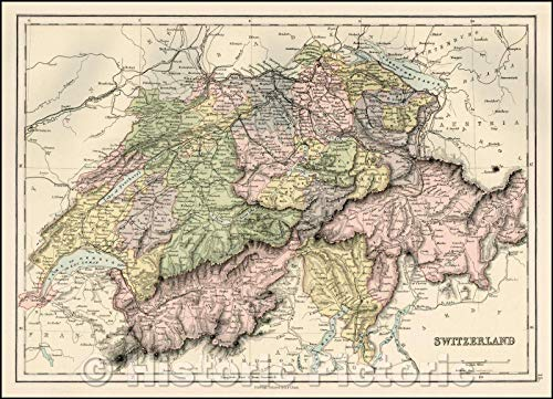Historic Map | Switzerland, 1869, Adam & Charles Black | Vintage Wall Art 61in x 44in