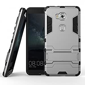 DWay Honor 5X Armor Case Hybrid Design with Stand Feature 2 In 1 Combo Dual Layer Detachable Protective Shell Phone Hard Back Case Cover for Huawei Honor 5X 5.5inches (Gray)