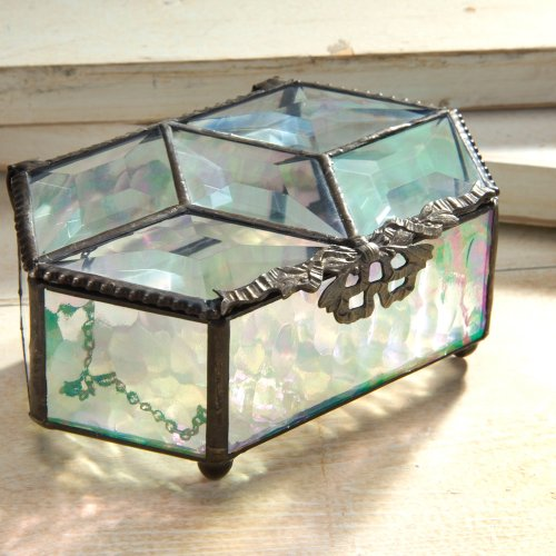 J Devlin Box 122 Tiffany Stained Glass Keepsake Box Hexagon Multi Beveled Top Clear Iridescent Decorative Vanity Jewelry Display Case