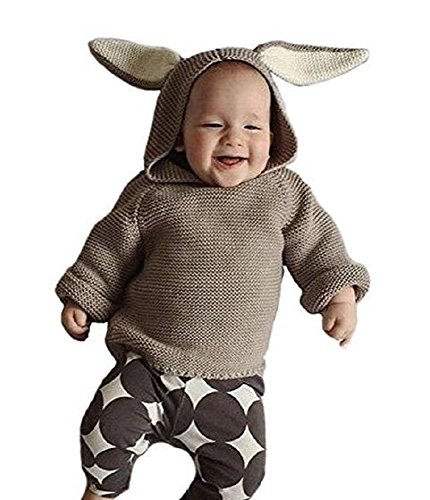 [E.life Kids Babies Adorable Hoodie Bunny Ears Cotton Knitted Pullovers Sweater (3/4T, Brown)] (Brown Rabbit Ears Costumes)