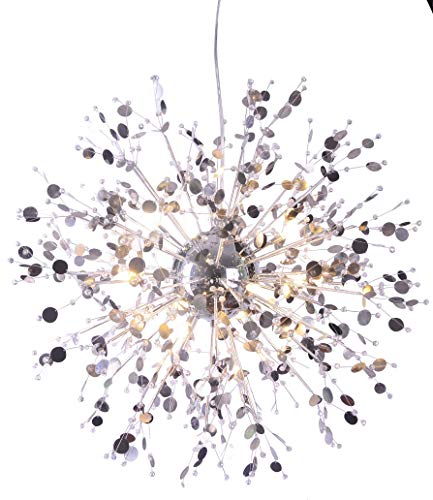 GDNS 8 Pcs Lights Chandeliers Firework LED Light Stainless Steel Crystal Pendant Lighting Ceiling Light Fixtures Chandeliers Lighting,Dia 19.6 (5 Light Crystal Wrought Iron)