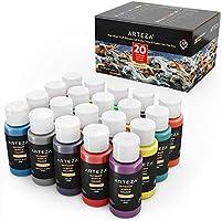 ARTEZA Outdoor Acrylic Paint, Set of 20 Colors/Tubes (59 ml, 2 oz.) with Storage Box, Rich Pigments, Multi-Surface Paints...