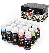 Arteza Peinture acrylique d'extérieur, lot de 20 couleurs/tubes (59 ml, 2 oz.) avec boîte de rang...