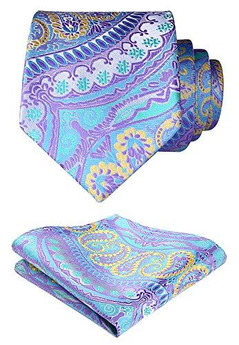 (HISDERN Men's Floral Jacquard Woven Tie Necktie Set 8.5 cm / 3.4 inches in Width Blue/Yellow)