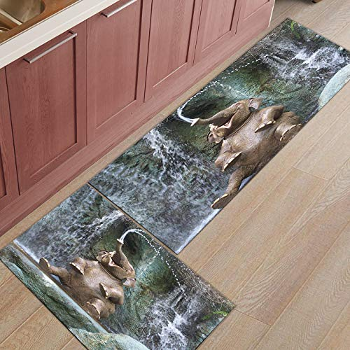 Kitchen Rugs Sets 2 Piece Kitchen Floor Mats Non-Slip Rubber Backing Area rugs Happy Bathing Elephant Doormat Rubber Backing Washable Carpet Inside Door Mat Pad Sets(23.6