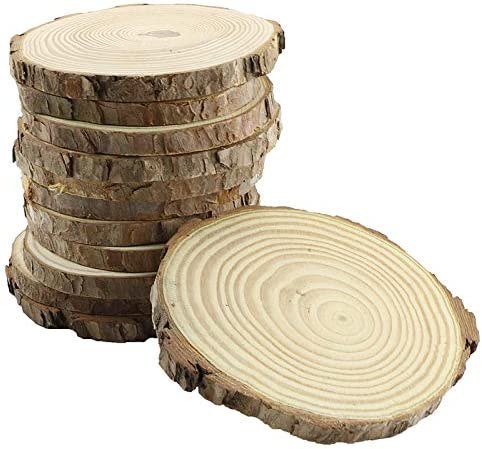 Wood Slices Round Natural Circle Tree Bark Wooden Log For DIY Crafts Ornaments
