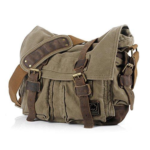 "Jonon Vintage Military Men Canvas Messenger Bag for 13.3-17""Laptop (Size 17.3"", Green)"