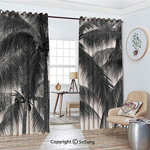 Foil Palm Tree Silhouette - Extra Long and Wide Blackout Curtains,Palm Tree Silhouette Exotic Plant on Dark Thema Foliages Relax in Nature Image Thermal Insulated Premium Room Divider Large Size 2 Panel Set,108