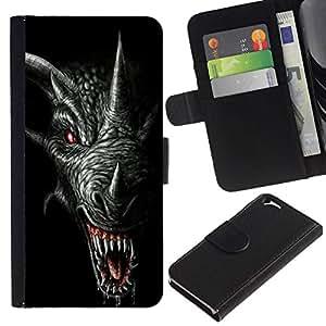 All Phone Most Case / Oferta Especial Cáscara Funda de cuero Monedero Cubierta de proteccion Caso / Wallet Case for Apple Iphone 6 // Dragon Teeth Scary Black Horn