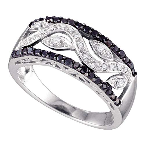 Mia Diamonds 10kt White Gold Womens Round Black Color Enhanced Diamond Floral Band Ring (.45cttw) (I2-I3)- Size -9