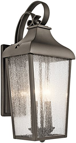 - Kichler 49736OZ Forestdale Outdoor Wall Sconce, 2 Light Incandescent 120 Total Watts, Olde Bronze