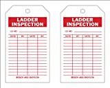Brady  86503 7'' Height x 4'' Width, Heavy Duty Polyester (B-837), Red on White Ladder Tags (10 Tags)