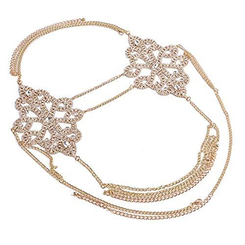 NABROJ Sexy Body Chain for Women Choker Body Necklace Waist Belt with Full Rhinestones Bikini Accessories Body Jewelry for Women Gold 1 Pc-STL05 Gold