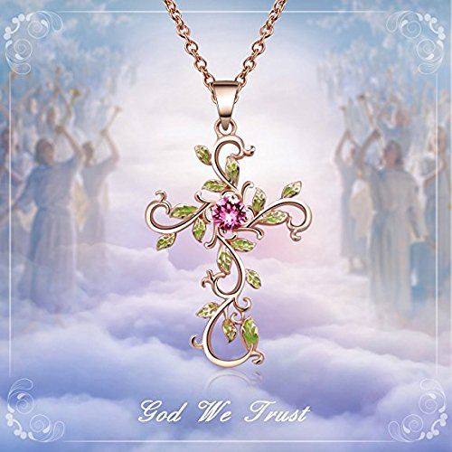 Angelady God We Trust Cross Pendant Necklace with Gold Plated,Pink Crystal from Swarovski